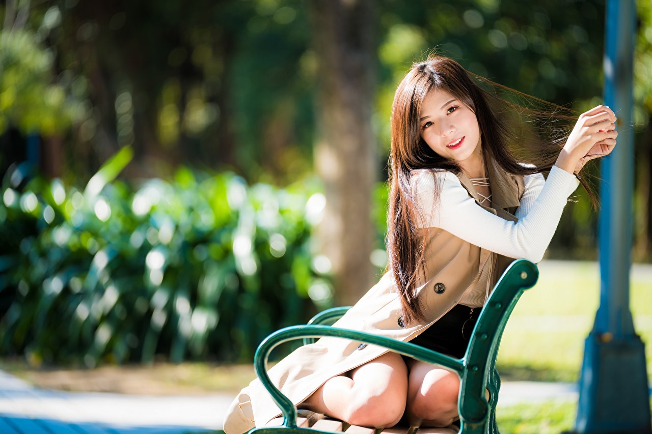 Image Bokeh young woman Asian Bench Sitting Glance blurred background Girls female Asiatic sit Staring