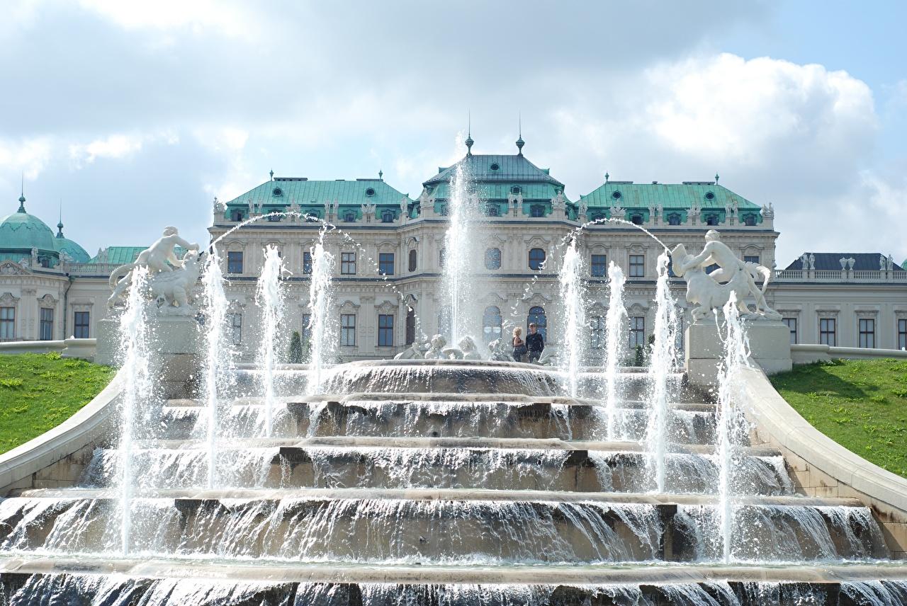 Photos Vienna Austria Fountains Palace complex Belvedere Cities Sculptures