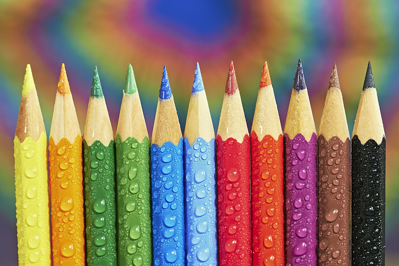 Photo pencil Tom Pavlasek Multicolor Drops Closeup Pencils
