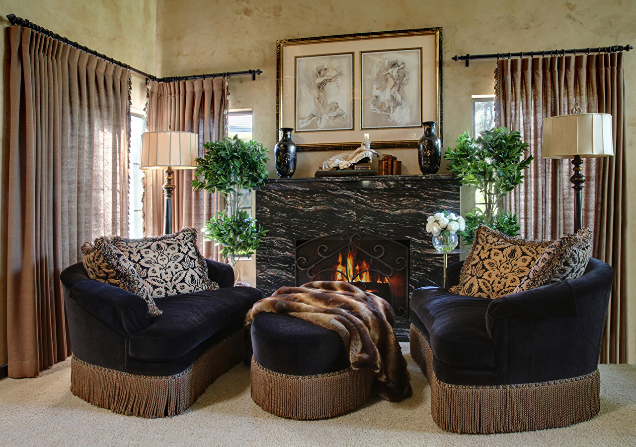 Photo Living room Interior Fireplace Sofa Lamp Design Curtains lounge sitting room Couch Curtain
