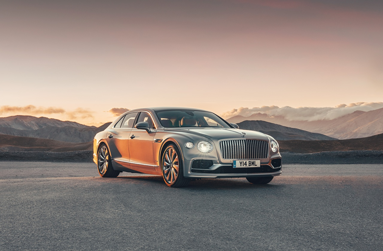 Picture Bentley Flying Spur, 2020, Blackline gray Cars Metallic Grey auto automobile