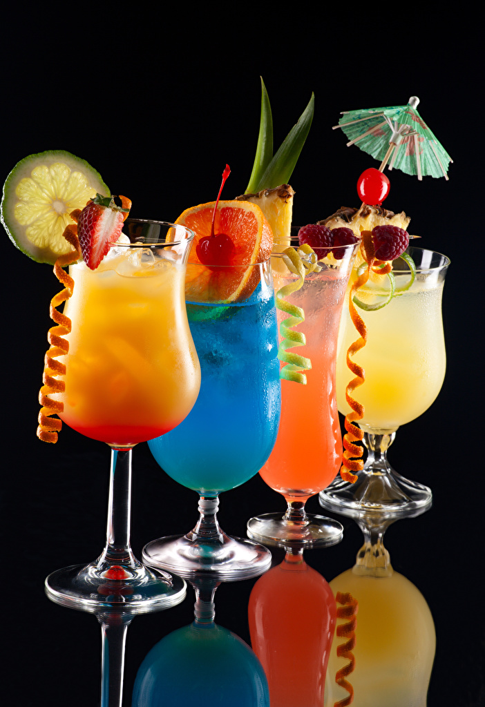 Images Food Fruit Cocktail Stemware Black background  for Mobile phone Mixed drink