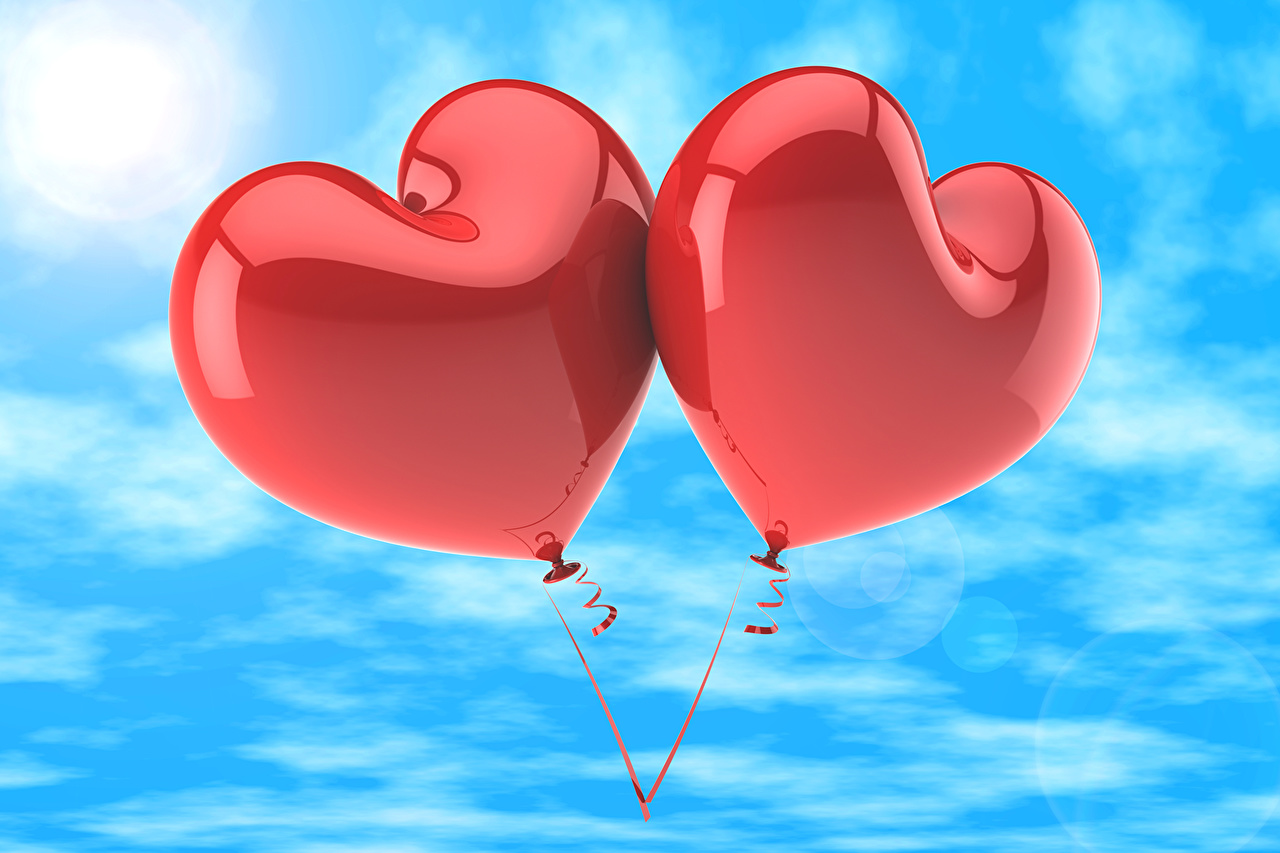 Pictures Heart Toy balloon Two 3D Graphics Sky