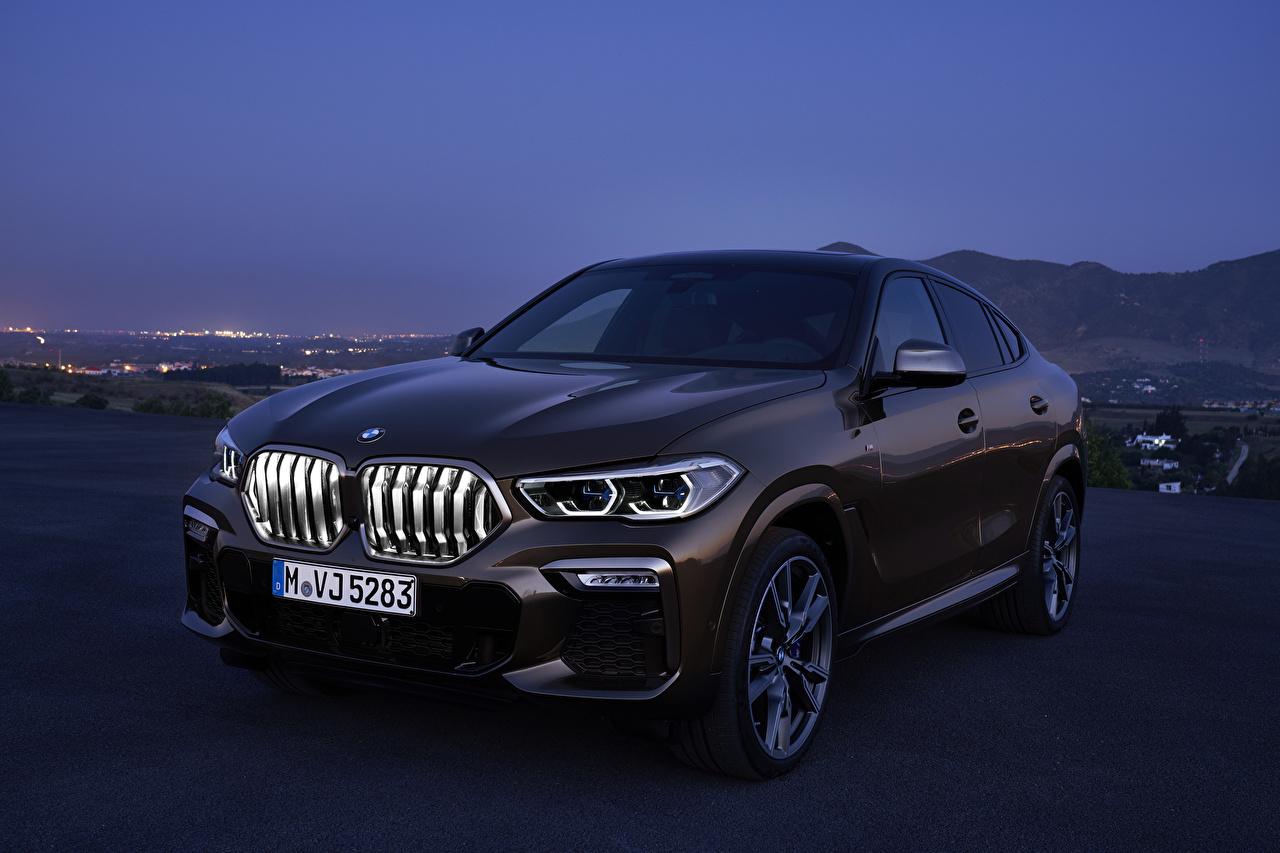 Wallpaper BMW 2019 X6 M50i Worldwide Brown automobile Cars auto