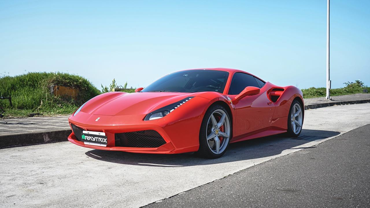 Desktop Wallpapers Ferrari 488, Armytrix Exhaust Coupe Red auto Metallic Cars automobile