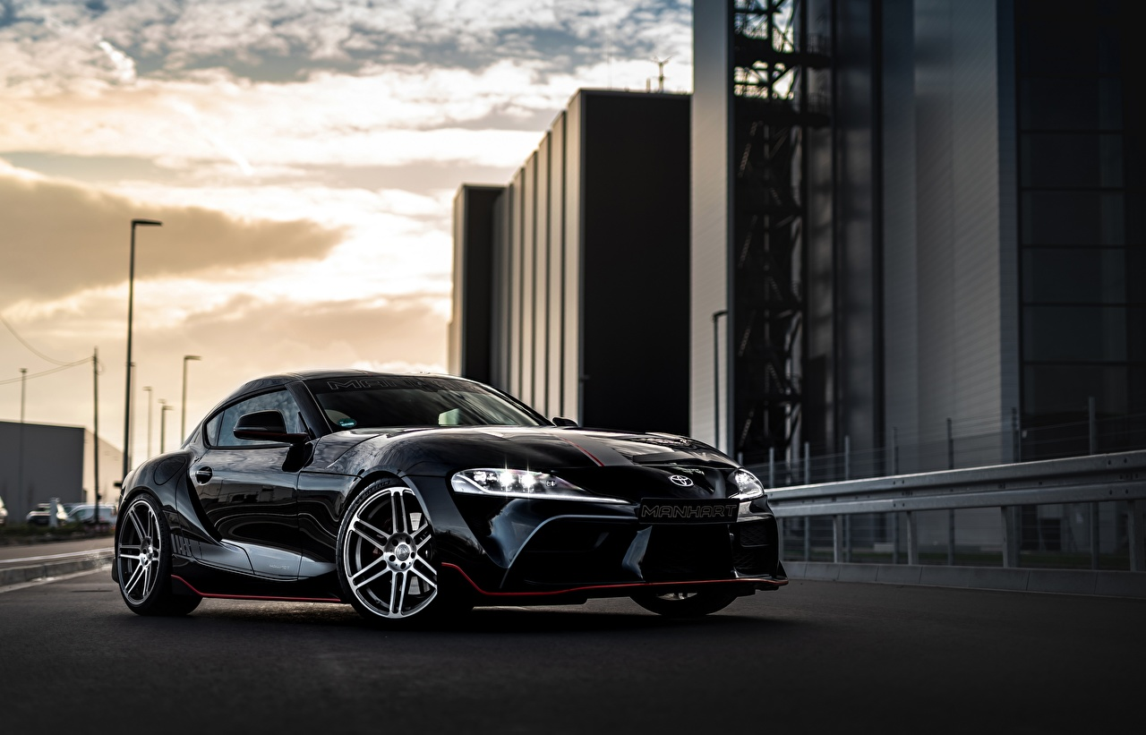Wallpaper Tuning Toyota Supra, Manhart, GR 450, mk5, A90, Gazoo Racing Coupe Black Metallic automobile auto Cars