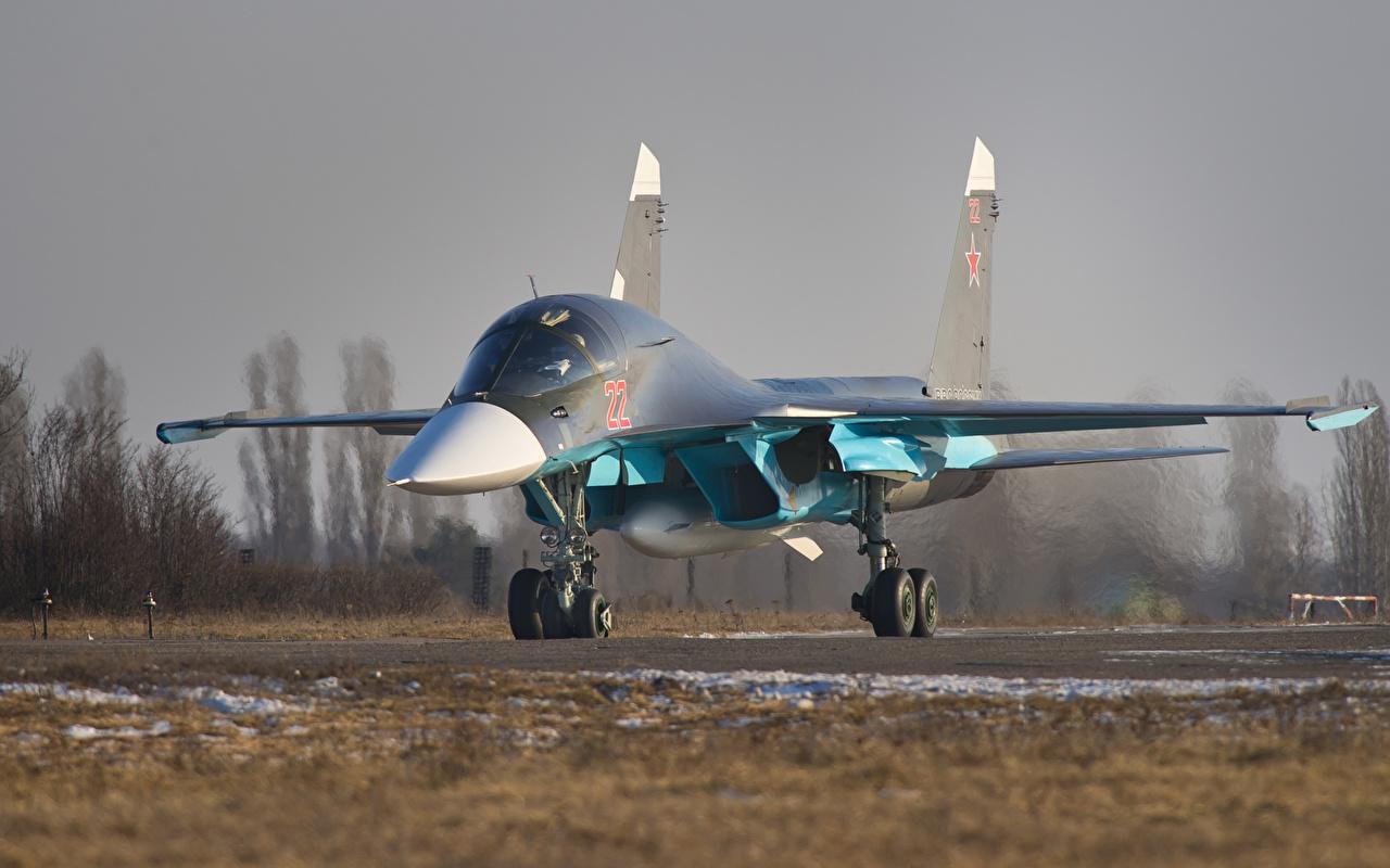 Обои для рабочего стола Су-34 Истребители Бомбардировщик Самолеты Русские Спереди Авиация российские