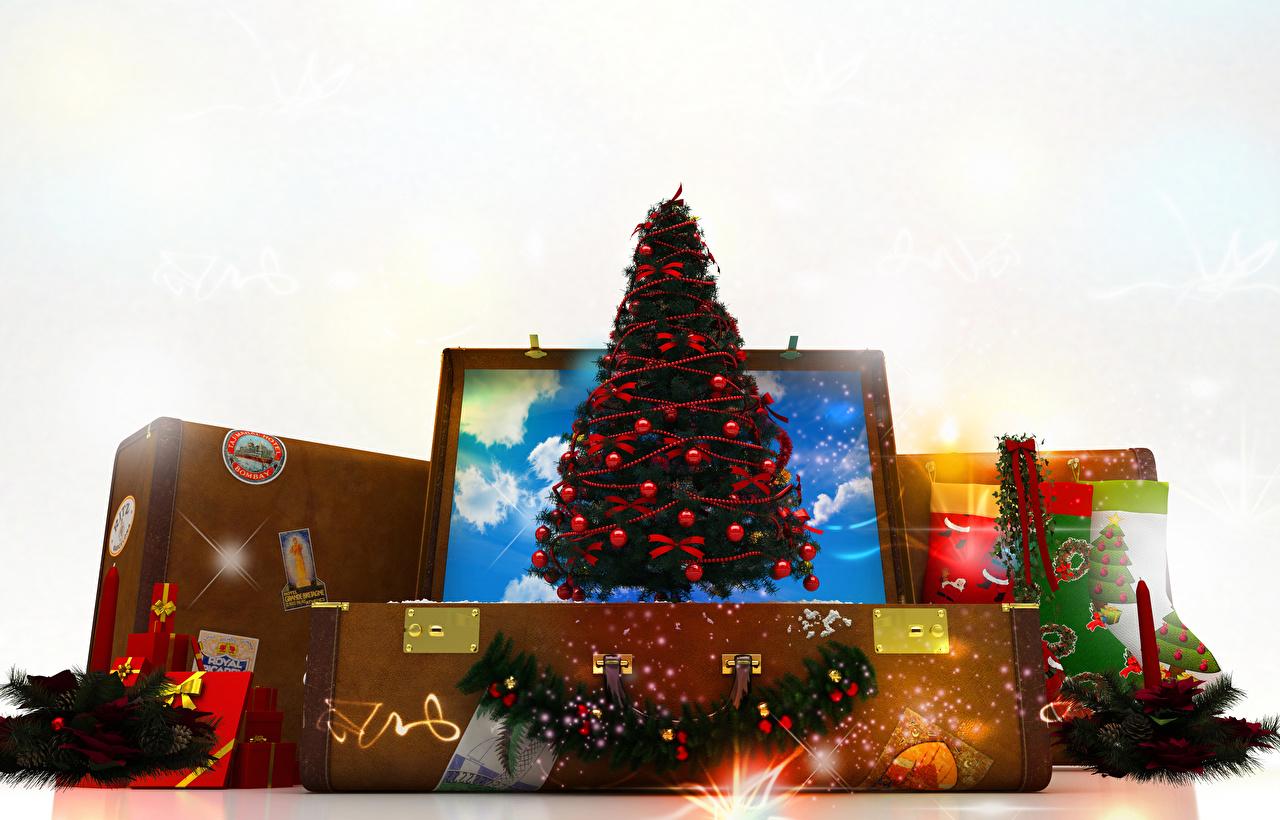 Bilder Neujahr Weihnachtsbaum Koffer Geschenke Kerzen Weißer hintergrund Christbaum Tannenbaum