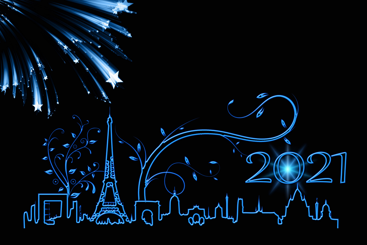 Pictures 2021 Paris Eiffel Tower Christmas Fireworks little stars silhouettes Black background New year Star decoration Silhouette