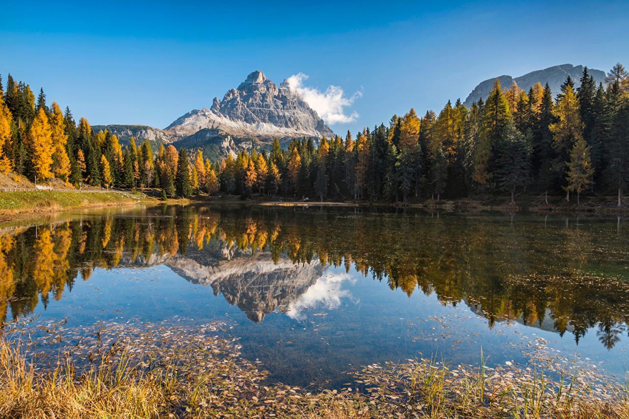 Photos Alps Italy Lake Antorno, Dolomites Nature Autumn mountain Reflection Trees Mountains reflected