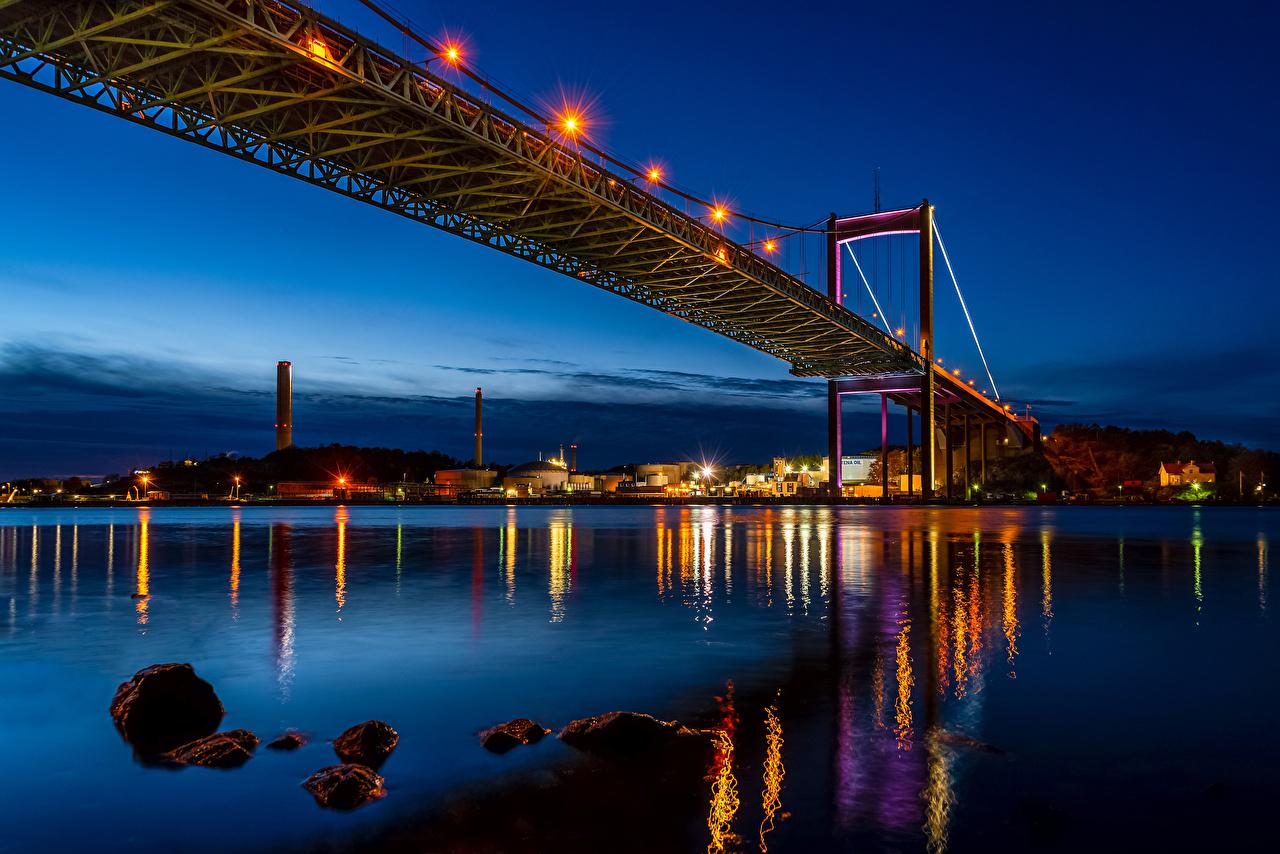 Fotos von Schweden Gothenburg Brücken Nacht Flusse Straßenlaterne Städte Gebäude Haus