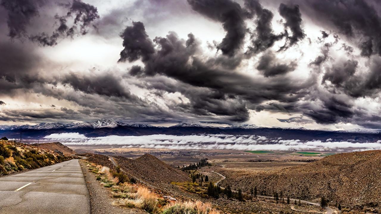 Photos California USA Owens Valley Thundercloud Nature Sky Hill Roads storm cloud