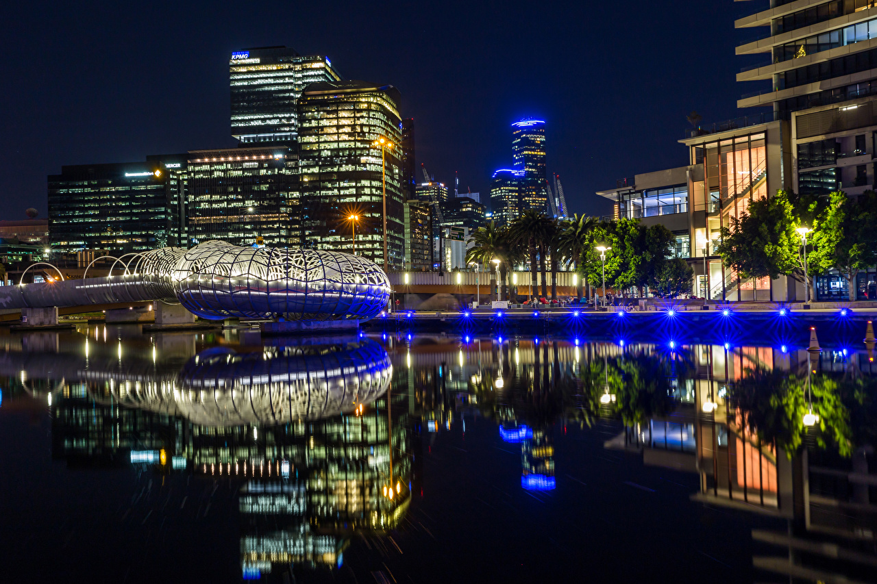 Desktop Wallpapers Melbourne Australia reflected Night Rivers Street lights Cities Building Reflection river night time Houses