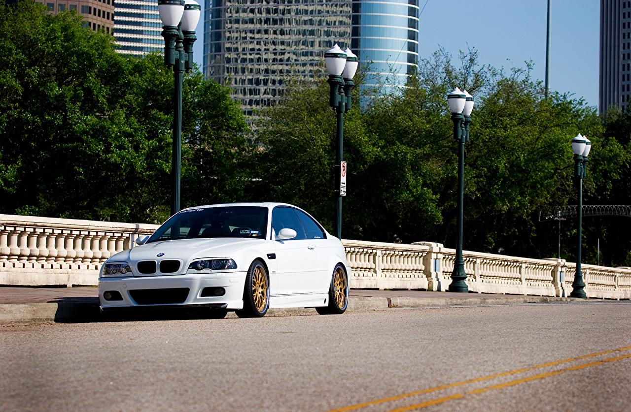 Images BMW m3 e46 White Cars Street lights auto automobile