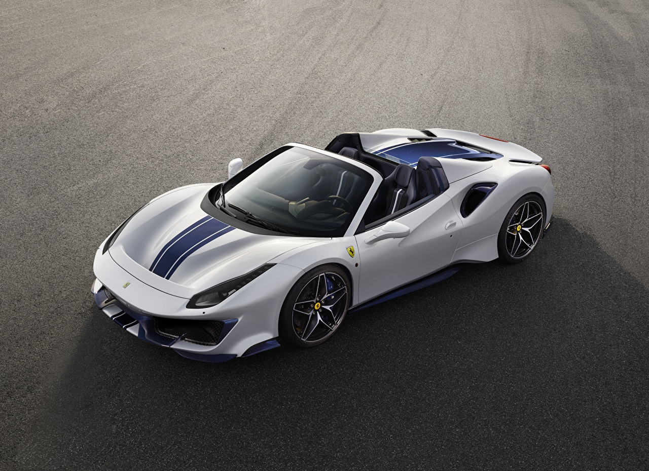 Wallpaper Ferrari Pista Spider Roadster White Cars auto automobile