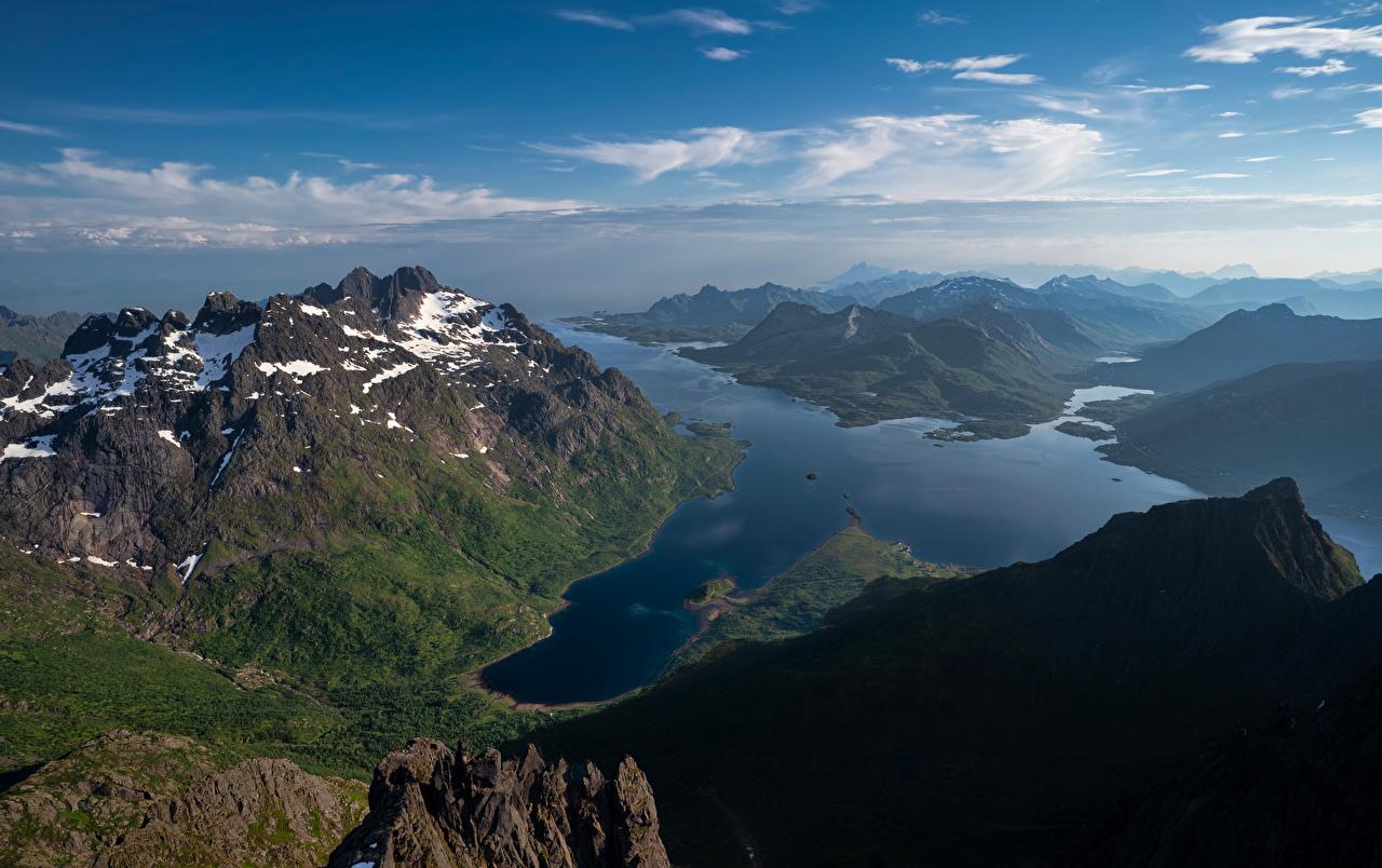 Fotos Lofoten Norwegen Laupstad Fjord Natur Gebirge Berg