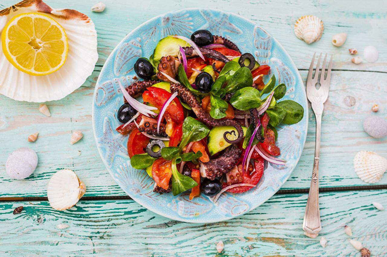 Pictures Lemons Shells Fork Food Plate Salads Vegetables Seafoods Wood planks boards