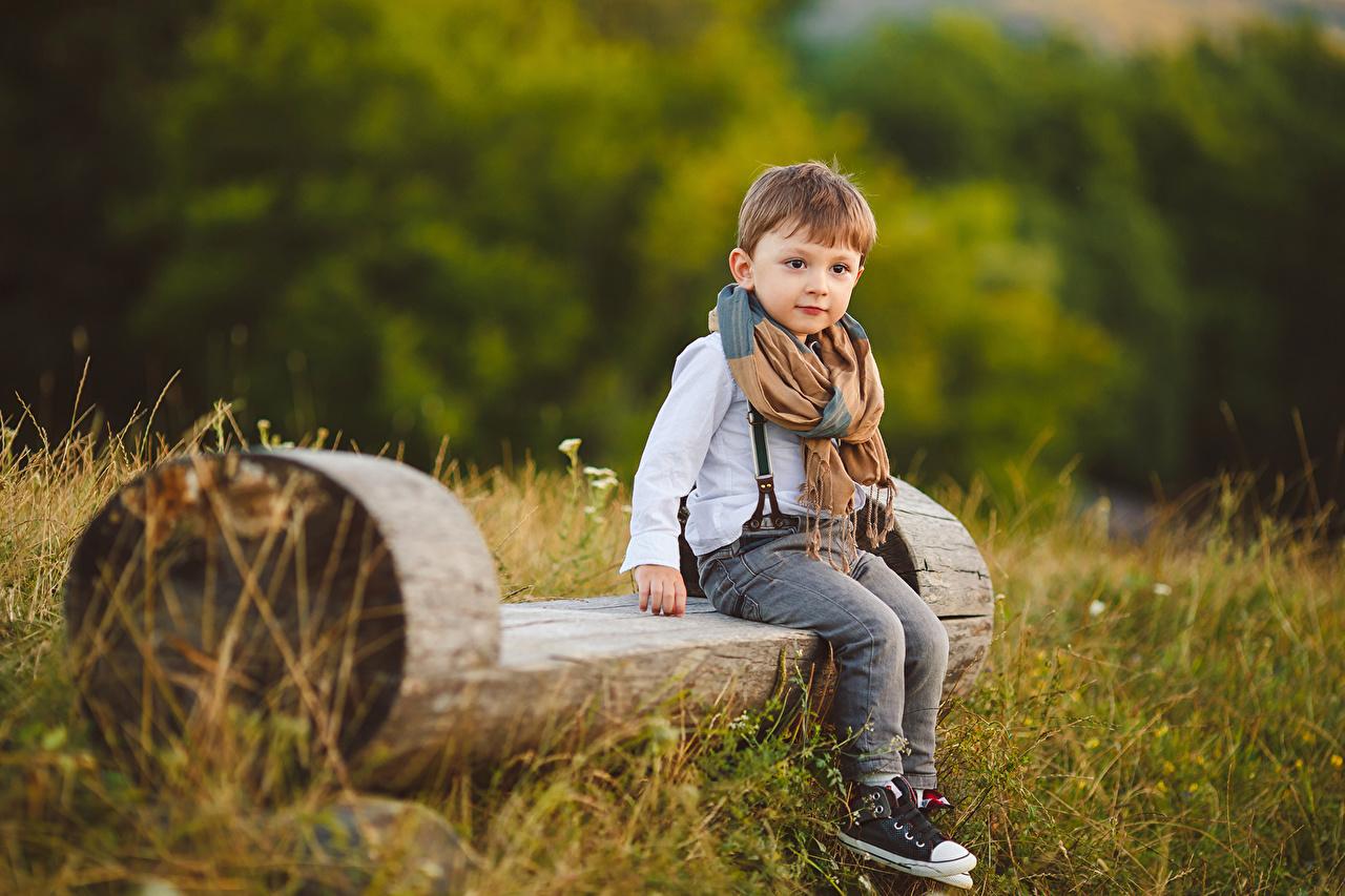 Wallpaper Boys child Jeans Bench Staring Children Glance
