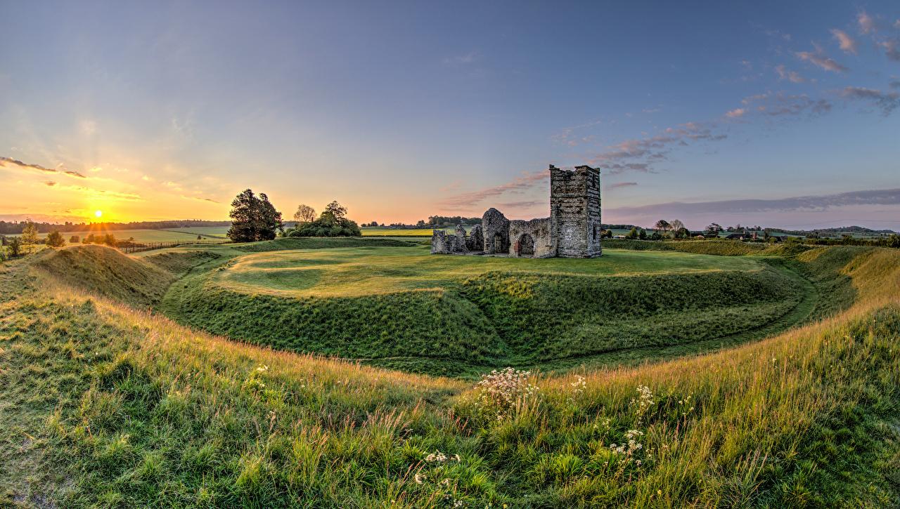 Photo England Knowlton Church Sun Nature Ruins sunrise and sunset Sunrises and sunsets