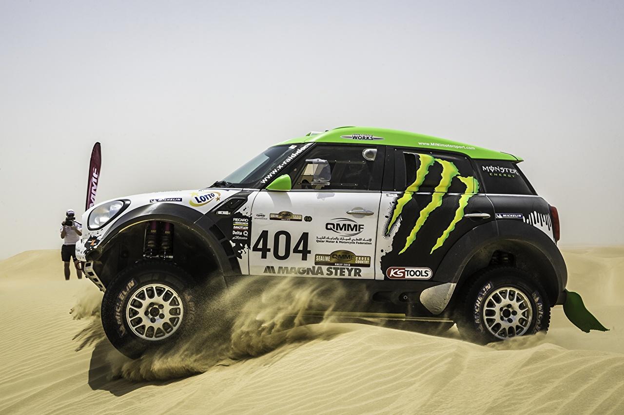 Bilder Mini Tuning Cooper Dakar X-raid Sport Sand Bewegung Autos Fahrzeugtuning