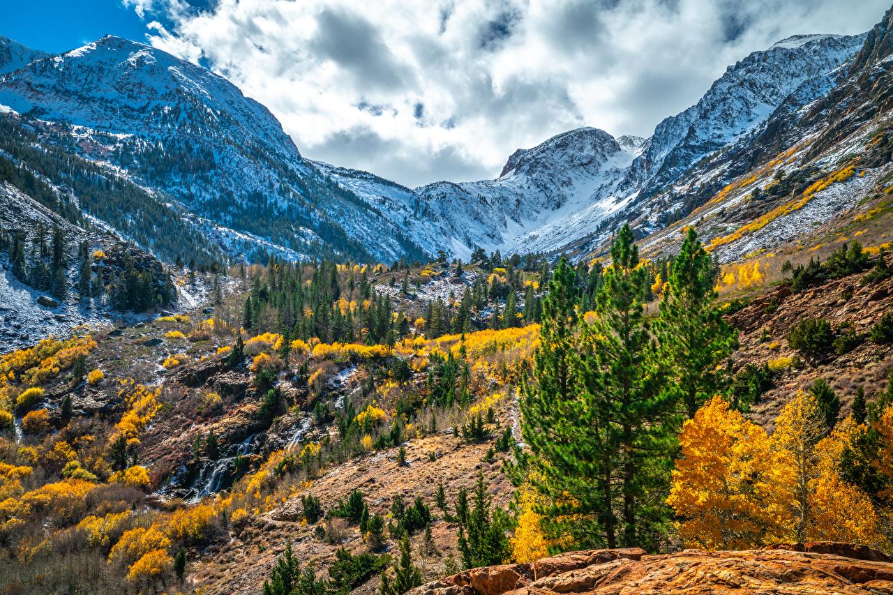 Image California USA Lundy Canyon Nature Autumn mountain Clouds Mountains