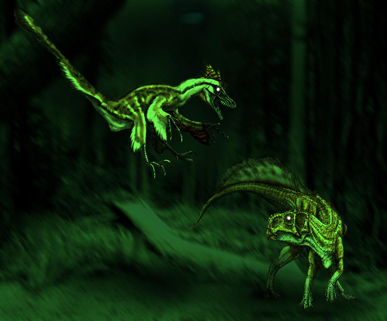 Pictures Dinosaurs Sinornithosaurus hunting Psittacosaurus Two animal Ancient animals 2 Animals