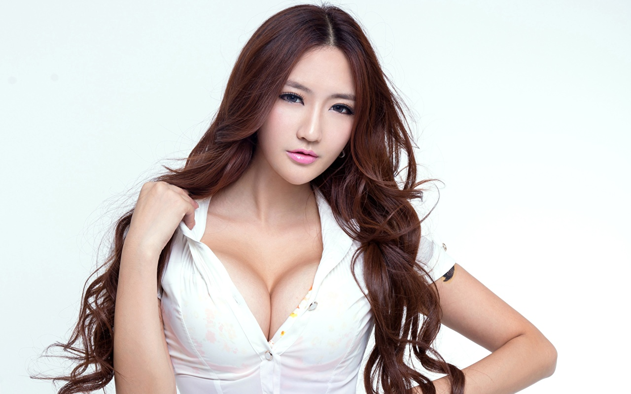 Wallpaper Breast Brown haired neckline Beautiful Hair young woman Asiatic Hands Staring White background decollete Décolletage Girls female Asian Glance