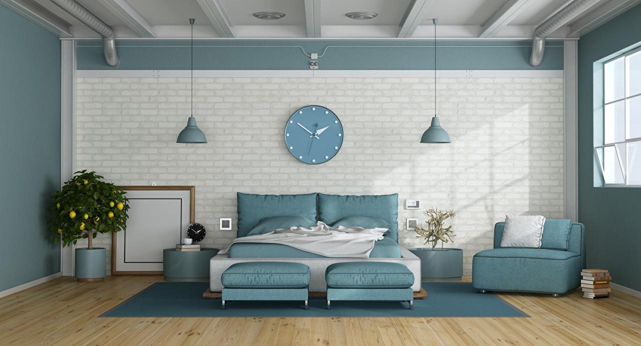 Relógio Design de interiores Quarto de Dormir Quarto Cama Travesseiro Muro Design muros 3D Gráfica