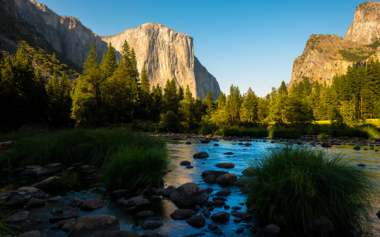 Image Yosemite California USA Sierra Nevada Nature mountain park Forests river stone Grass Mountains Parks forest Rivers Stones