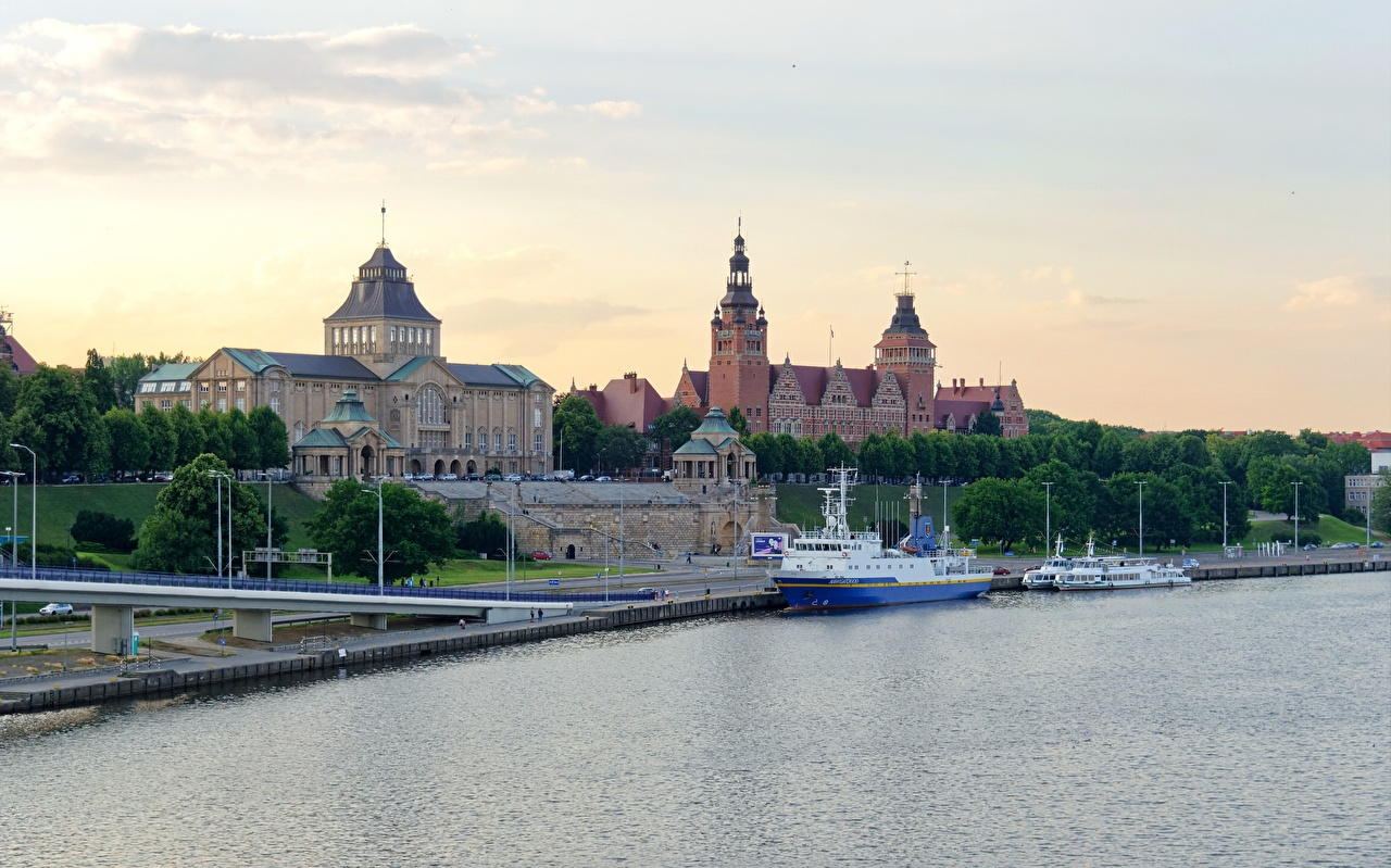 Photo Poland Stettin Riverboat Sunrises and sunsets Rivers Cities sunrise and sunset river