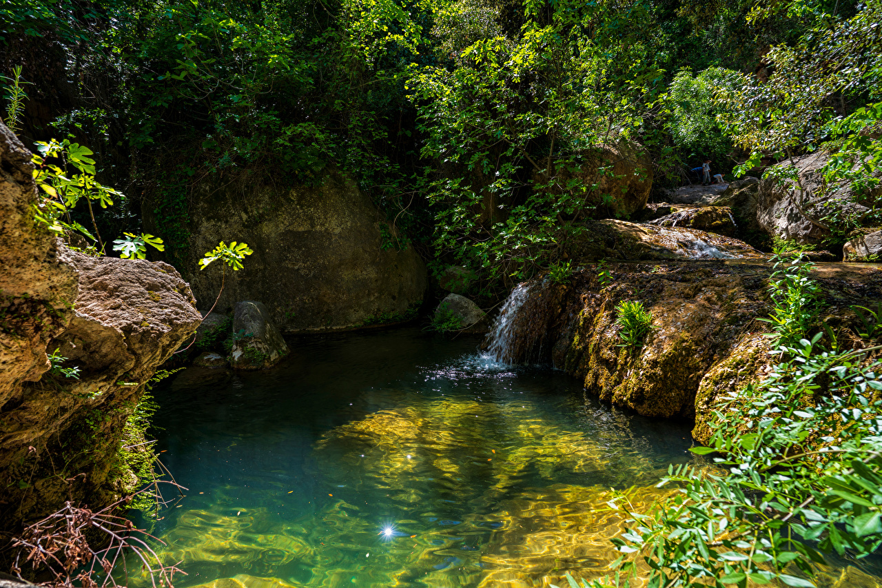Image Spain Crag Nature Streams Stones Trees Rock Cliff Creek brook Stream Creeks stone
