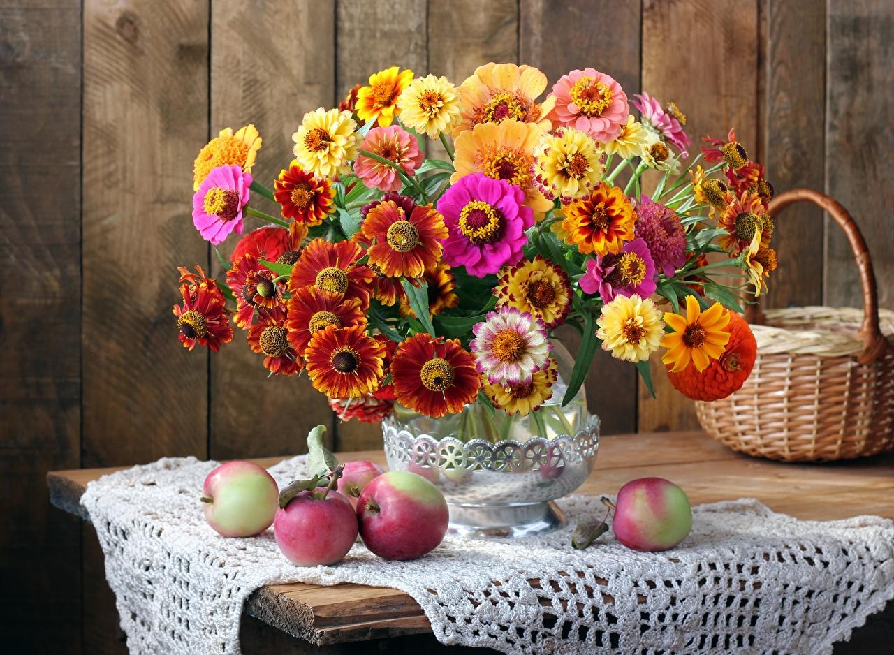 Images Tablecloth Bouquets Autumn Apples flower Wicker basket Vase Still-life bouquet Flowers