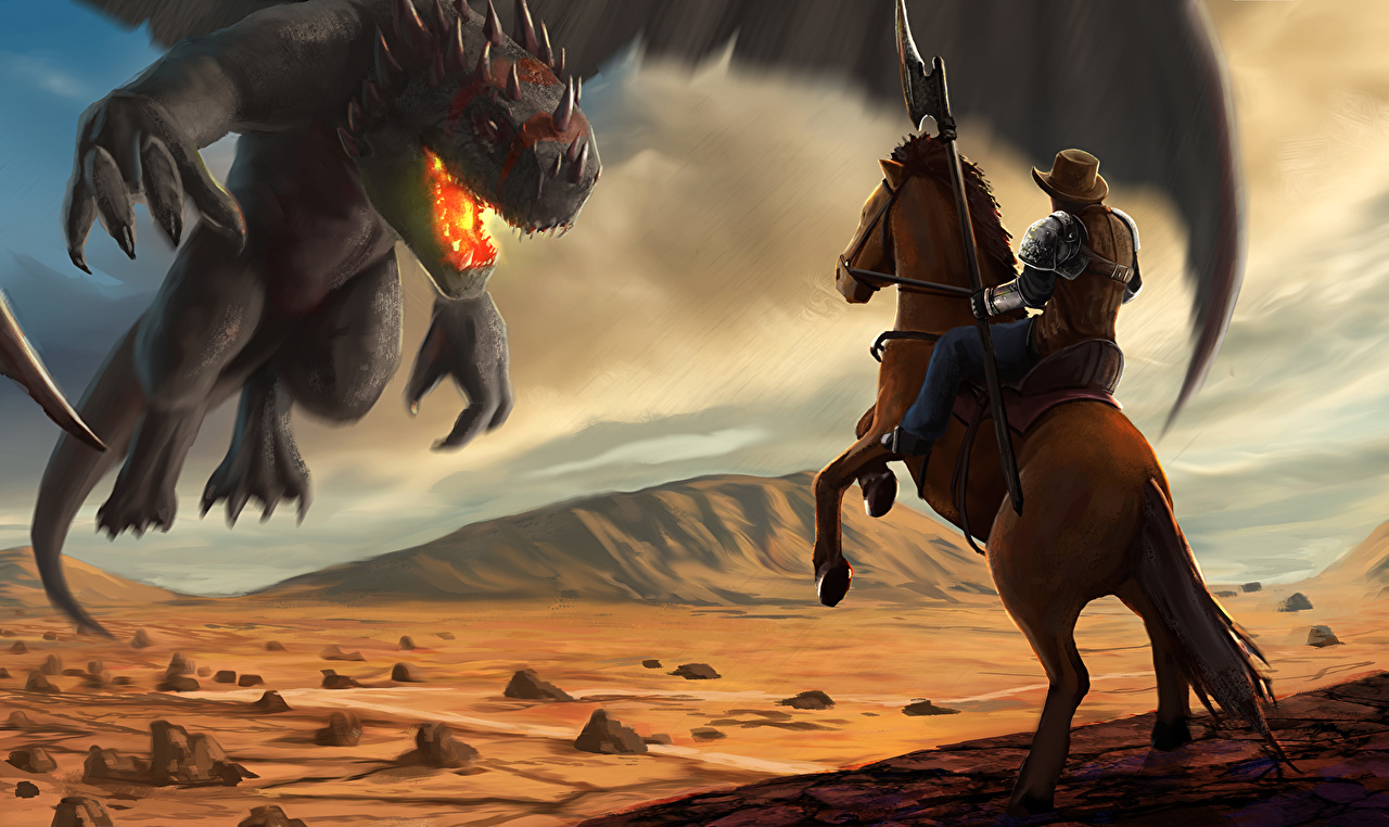 Image Spear Horses Cowboy Cowboys vs Dragons Fantasy fighting