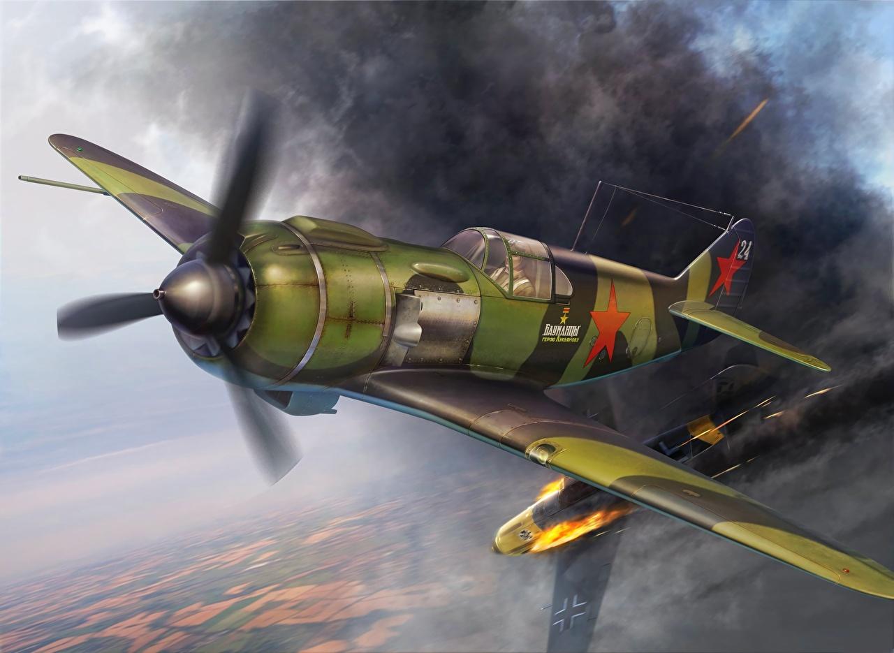 Tapety na pulpit Myśliwiec Samoloty Lavochkin La-5, WW2 latająca Rysowane Lotnictwo samolot myśliwski samolot Lot