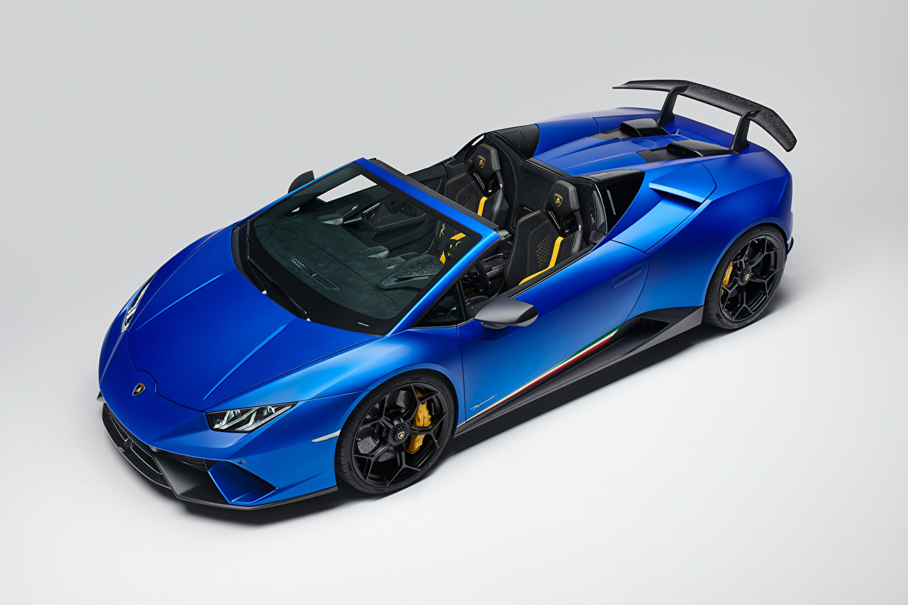 Picture Lamborghini 2018 Huracan Perfomante Spyder Worldwide Roadster Blue automobile Gray background auto Cars