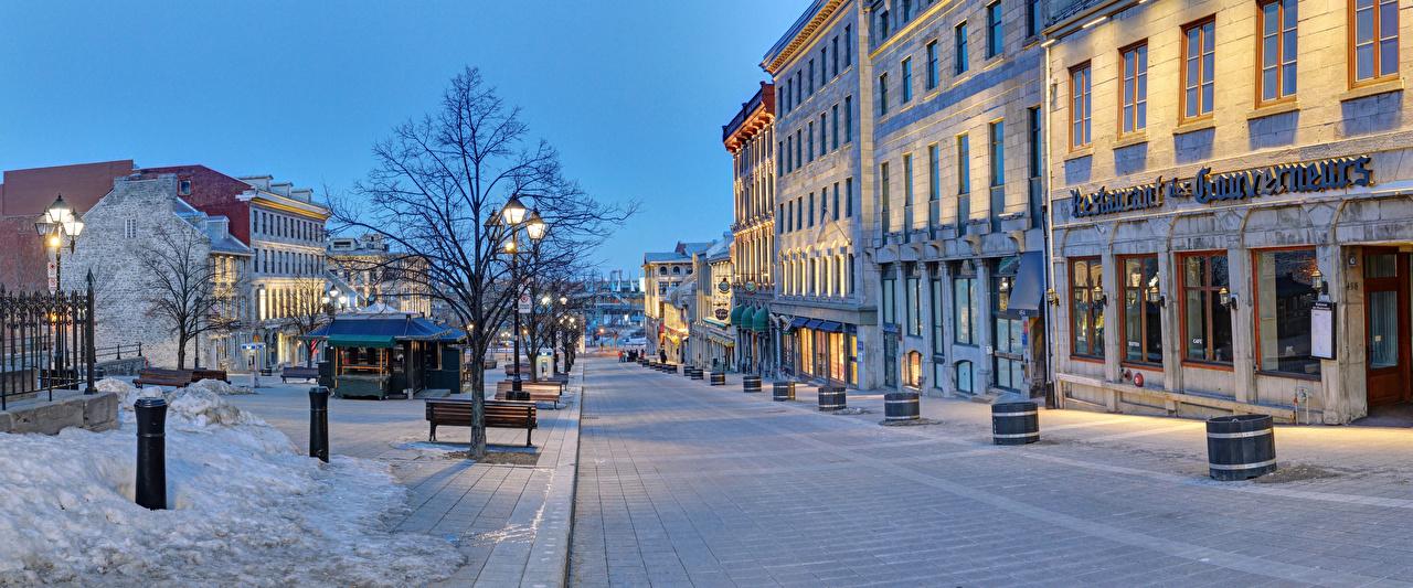 Wallpaper Canada Montreal Quebec Winter Street Evening Street lights Houses Cities Building