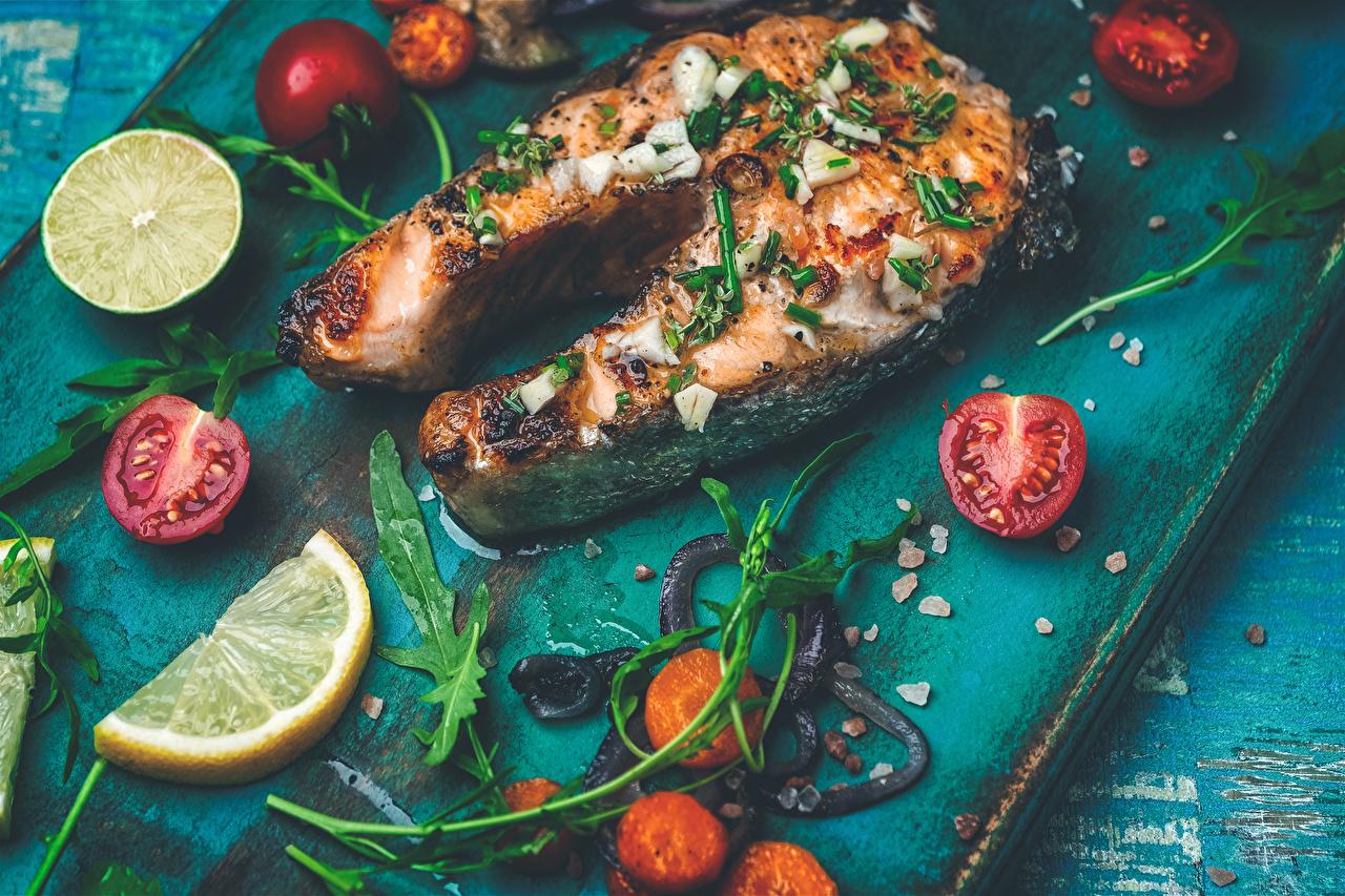 Photos Tomatoes Piece Lemons Fish - Food Food Vegetables pieces