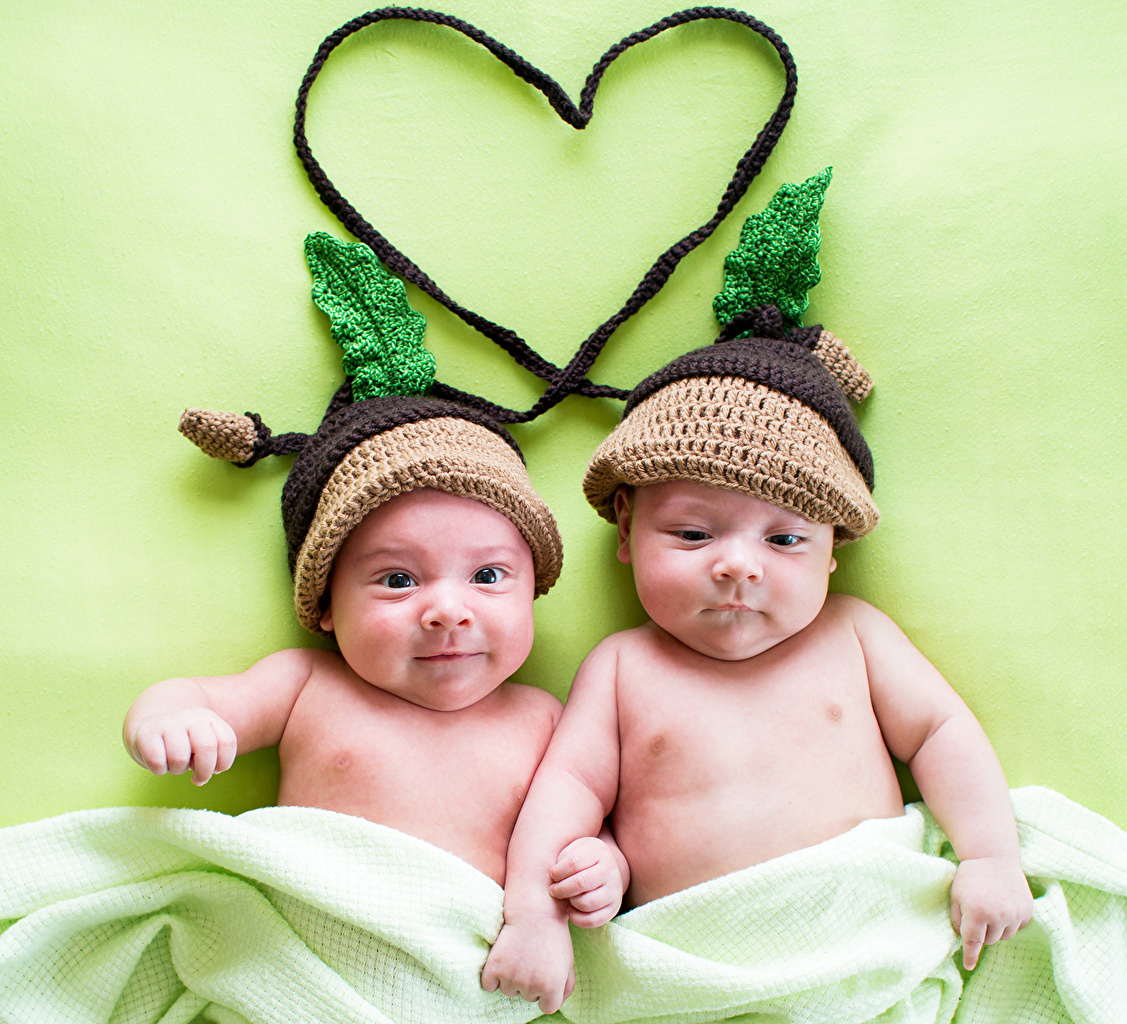 Picture Infants Heart child 2 Winter hat Baby newborn Children Two