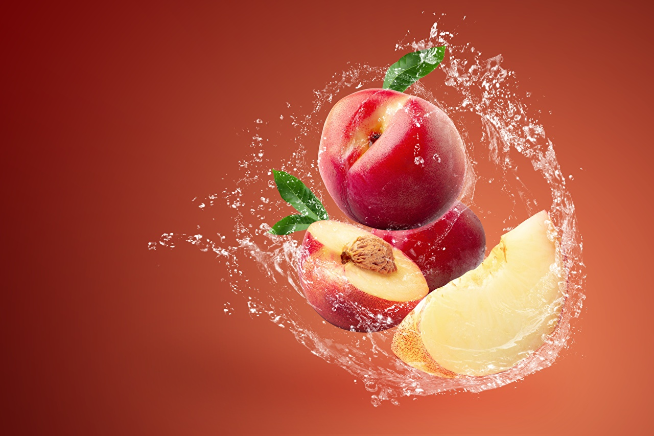 Picture Peaches Water splash Food Colored background