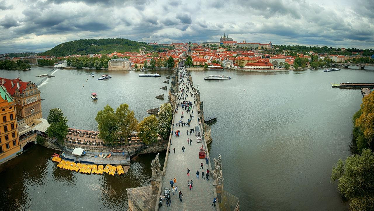 Bilder Prag Tschechische Republik Charles bridge, Vltava Brücke Flusse Von oben Städte Brücken Fluss