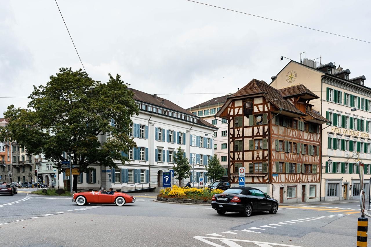 Обои для рабочего стола Швейцария Lucerne улице Здания Города улиц Улица Дома город