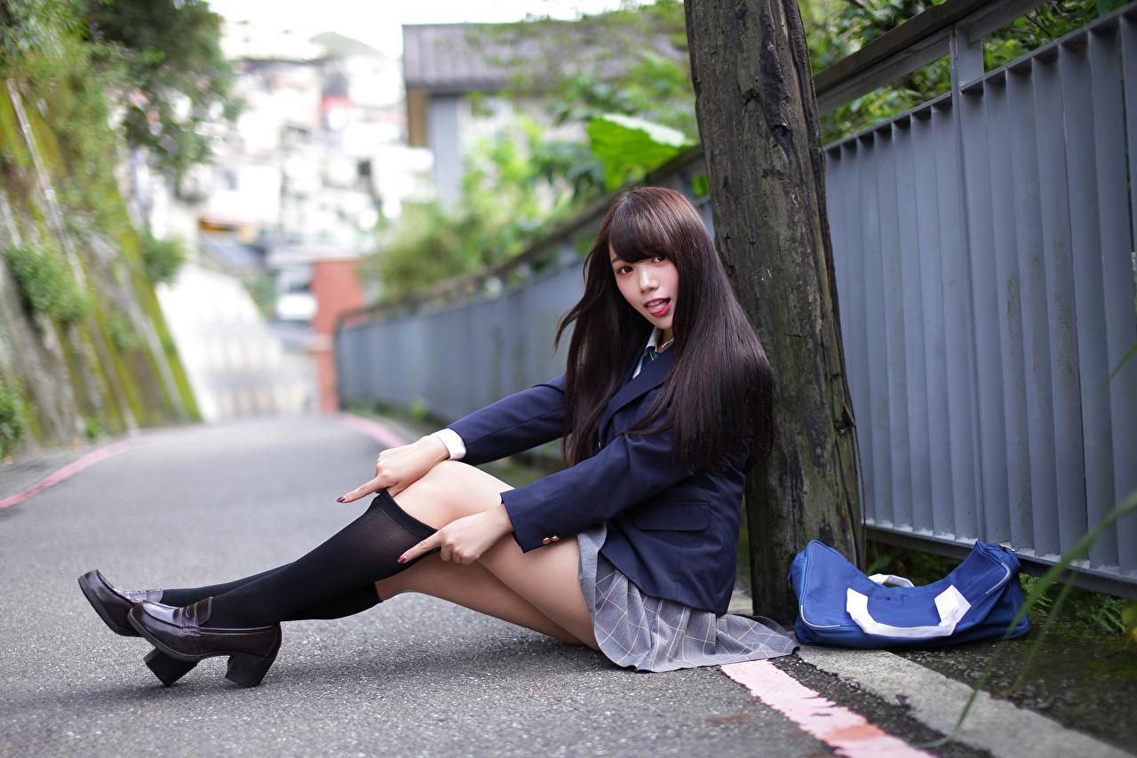 Wallpaper Knee highs Schoolgirl Brunette girl Beautiful young woman Legs Asian Sitting Uniform Staring Schoolgirls Girls female Asiatic sit Glance