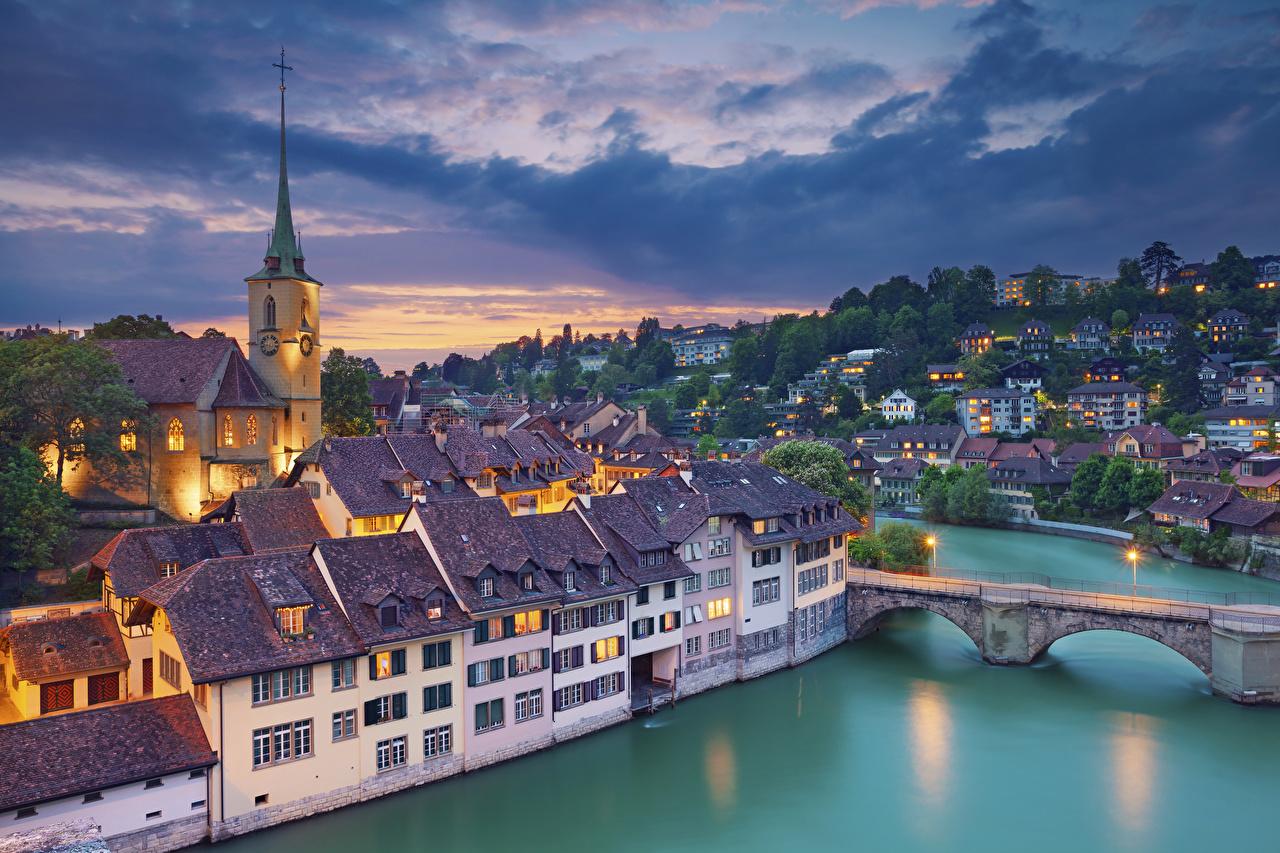 Desktop Wallpapers Bern Switzerland river Aare Bridges Sunrises and sunsets Rivers Houses Cities bridge sunrise and sunset Building