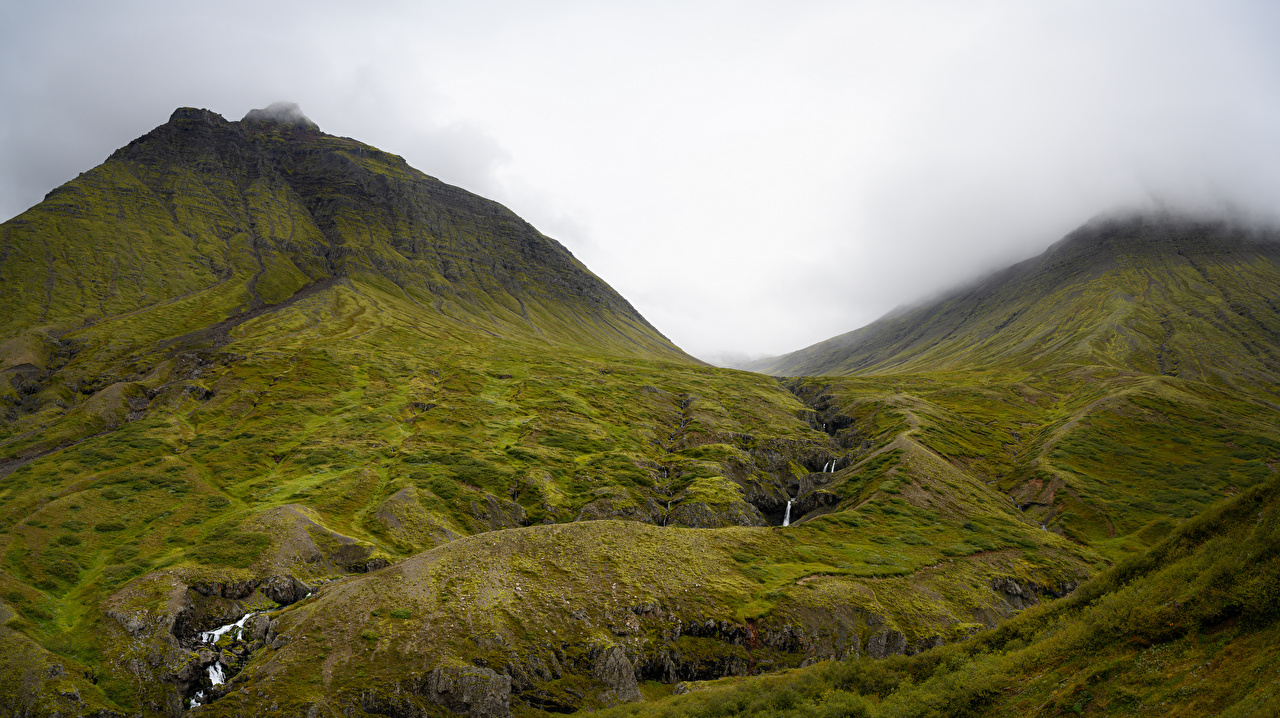 Images Iceland Creeks Nature mountain Waterfalls Stones Clouds Creek brook Stream Streams Mountains stone
