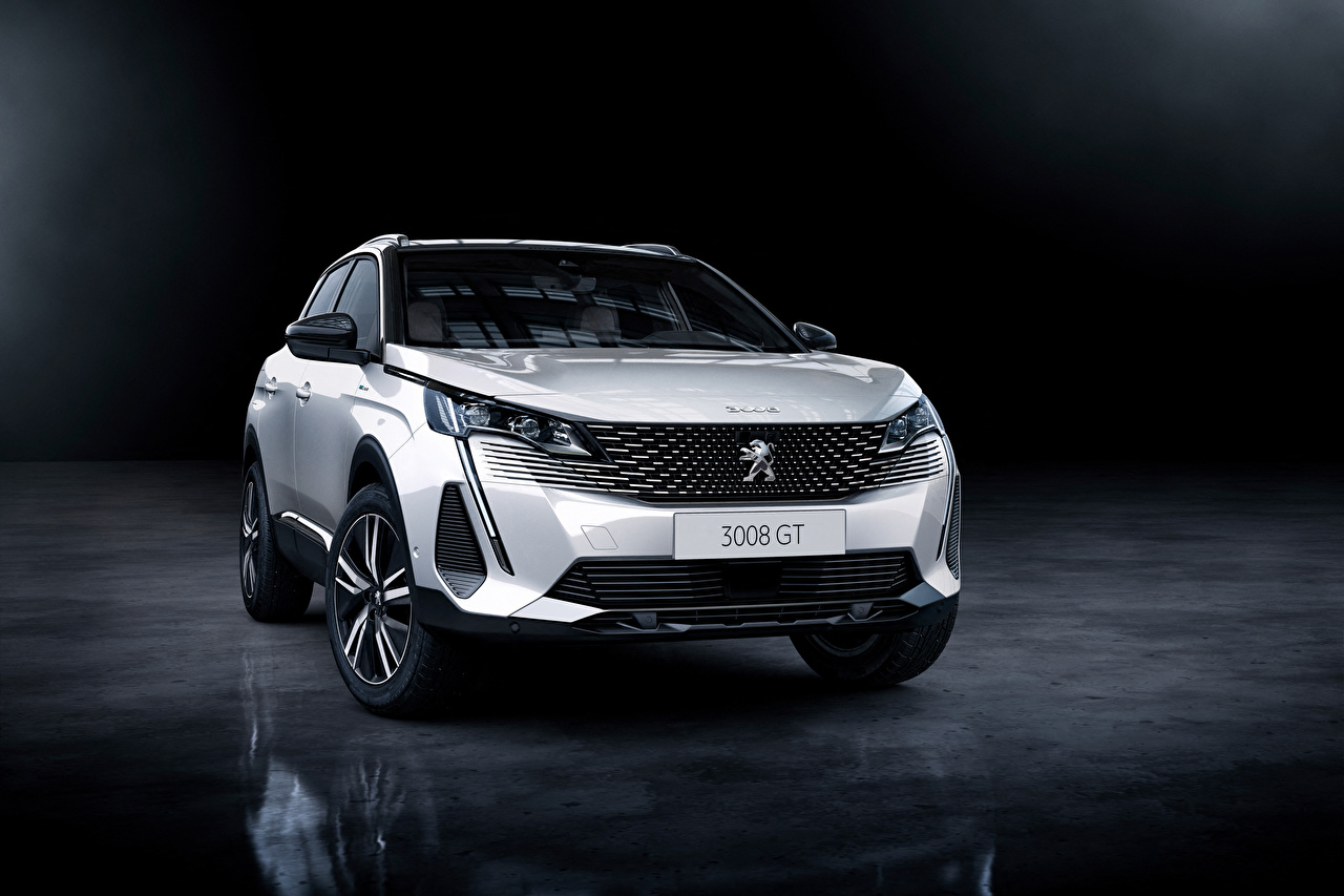 Fotos Peugeot Softroader 3008 HYBRID4, 2020 Weiß auto Vorne Metallisch Crossover Autos automobil