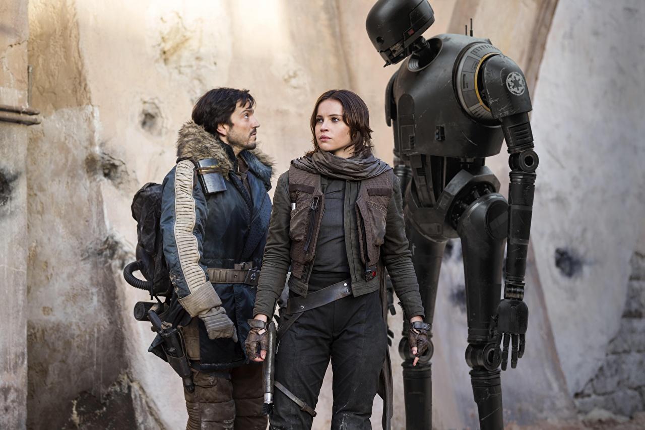 Wallpaper Rogue One: A Star Wars Story Felicity Jones robots Diego Luna, Jyn Erso, Cassian Andor, K-2SO young woman Movies Celebrities Robot Girls female film