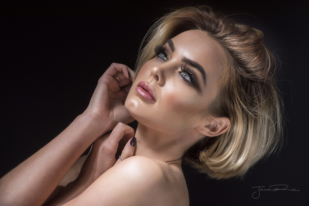 Wallpaper Rosie Robinson Makeup Jack Russell Face young woman Hands Black background Girls female