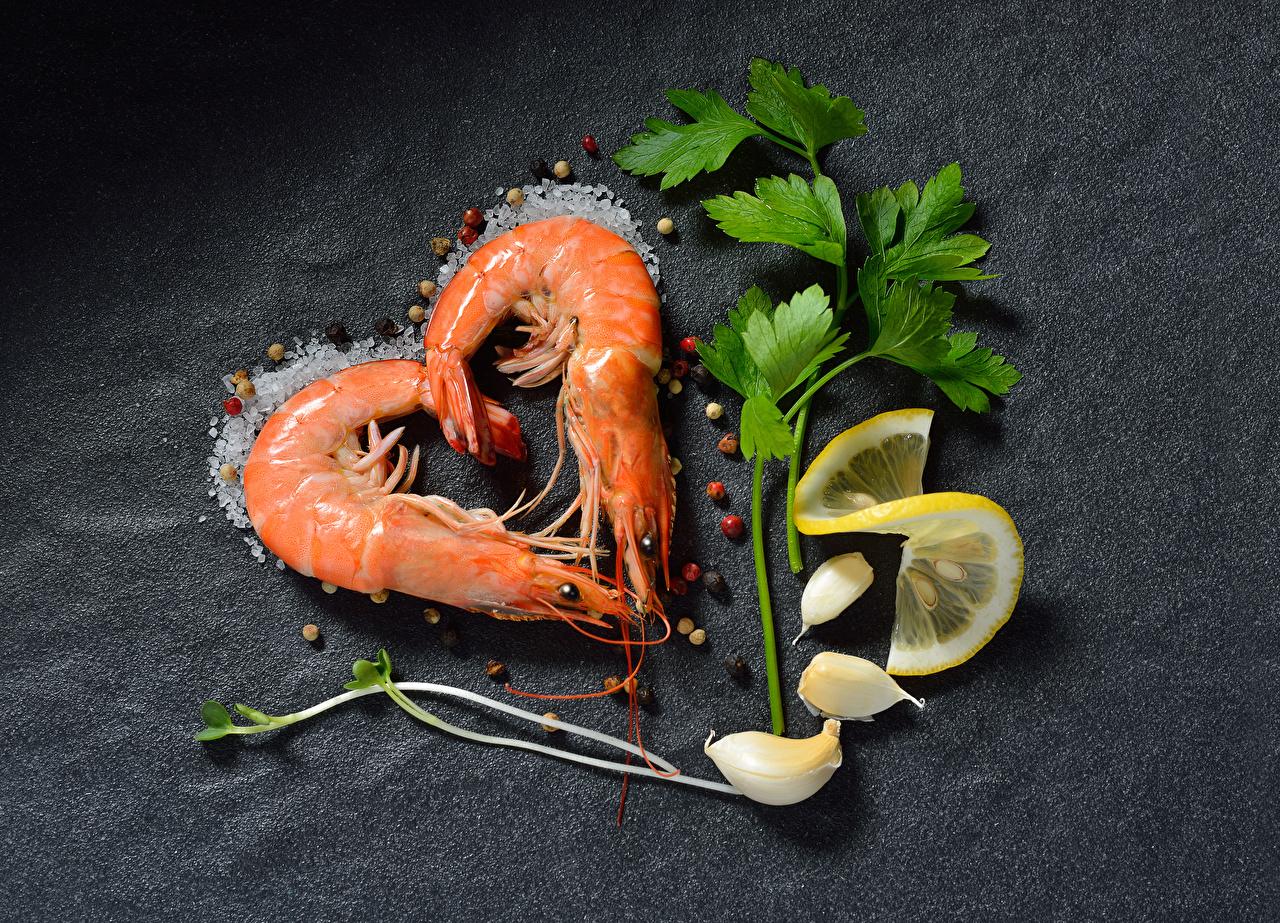 Photo Heart Black pepper Salt Lemons Caridea Allium sativum Food Gray background Shrimp Garlic