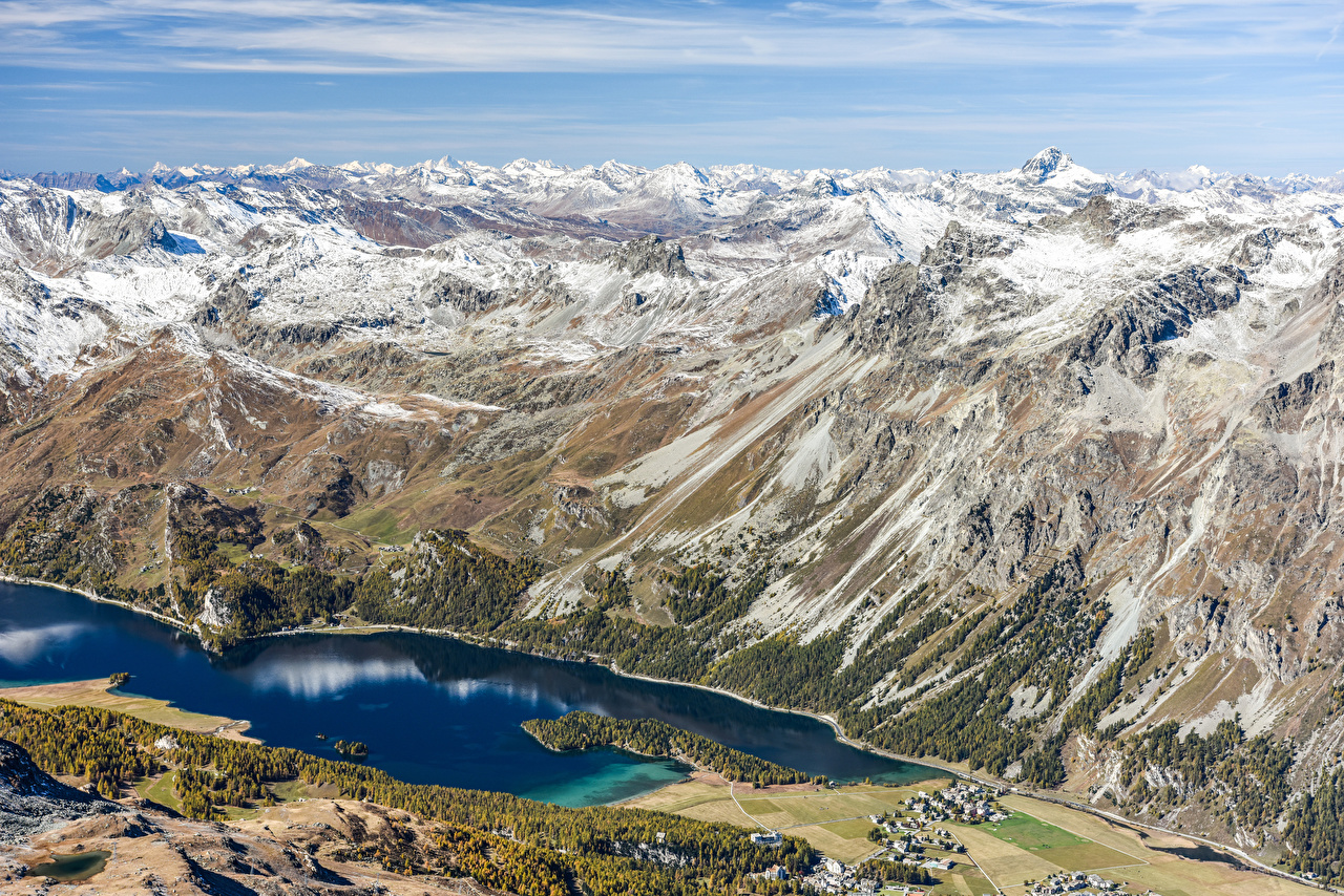 Pictures Alps Switzerland Nature Mountains Lake From above mountain