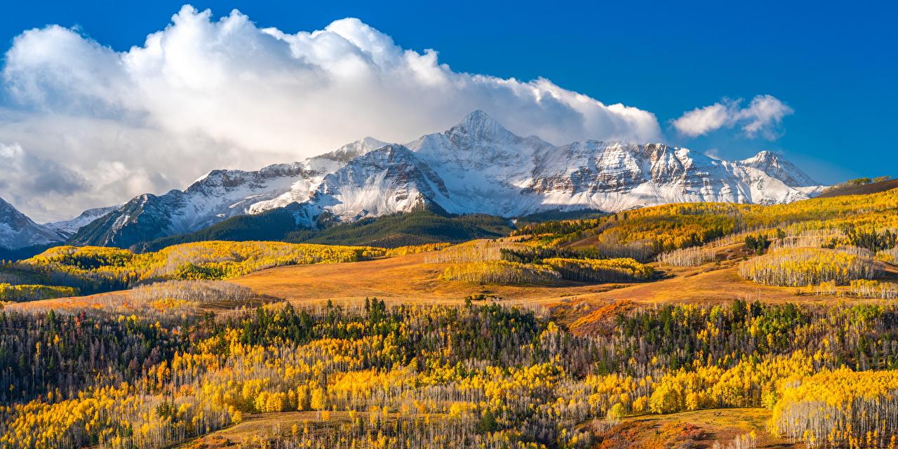 Fotos Vereinigte Staaten Wilson Peak, Colorado Berg Natur Herbst Landschaftsfotografie Wolke USA Gebirge